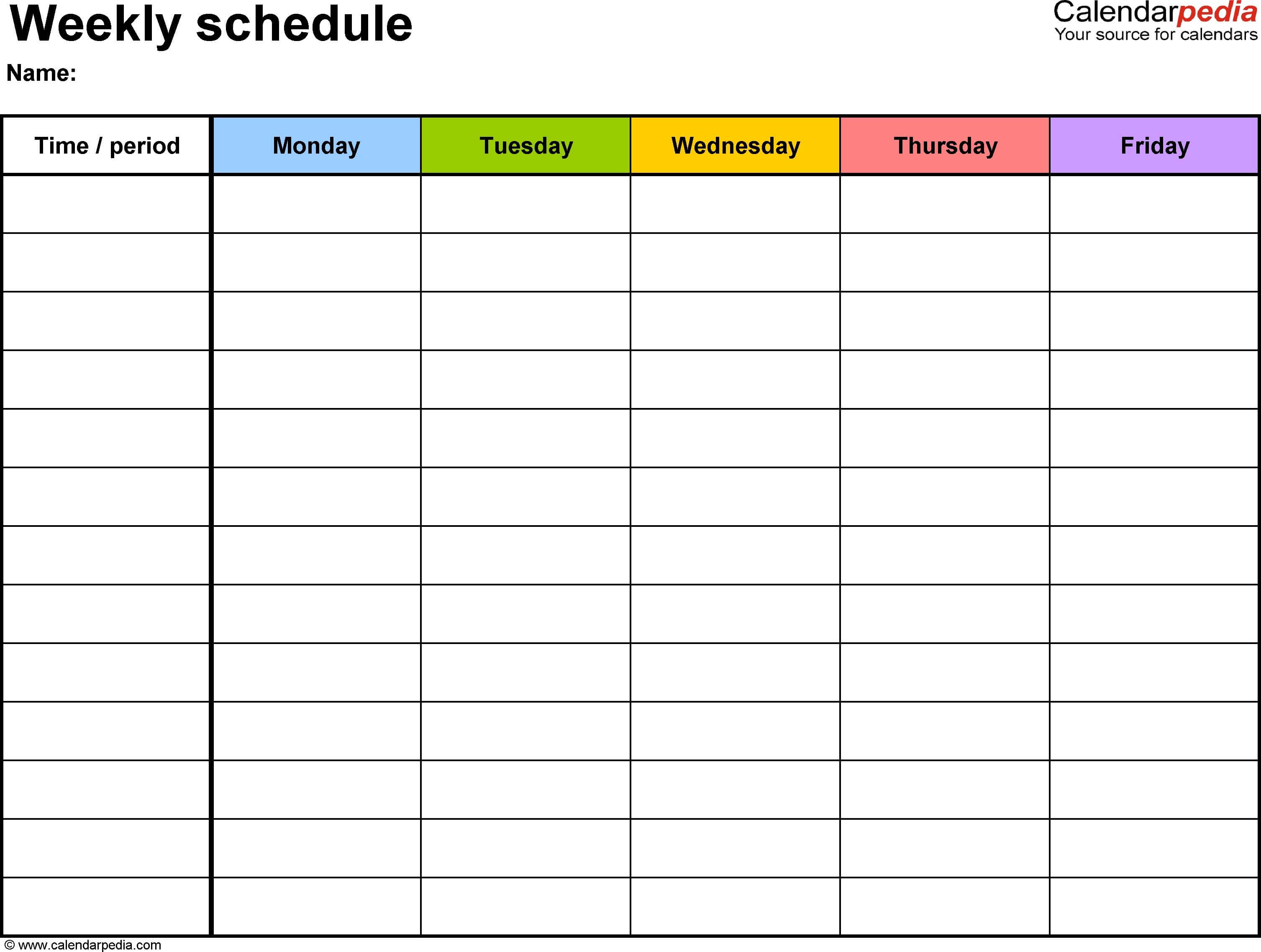 Weekly Schedule Template For Word Ver Free For Blank Revision Timetable Template