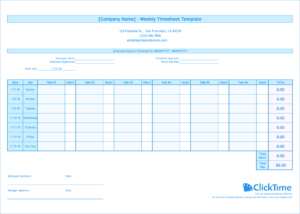 Weekly Timesheet Template | Free Excel Timesheets | Clicktime throughout Weekly Time Card Template Free