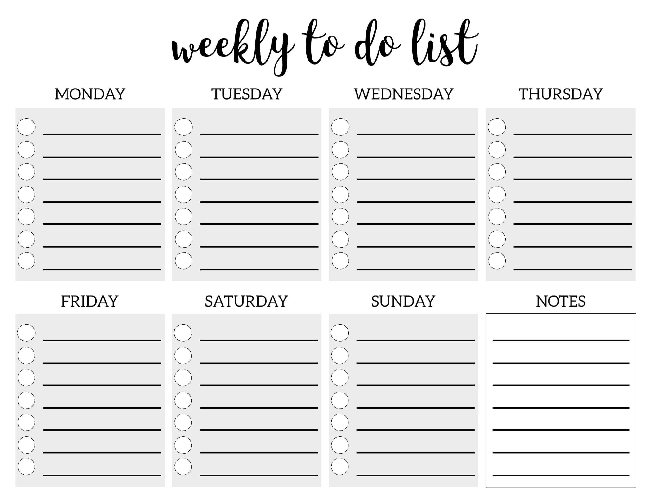 Weekly To Do List Printable Checklist Template Paper Trail Regarding Blank To Do List Template