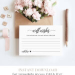 Well Wishes Printable, Wedding Advice Card Template For Inside Marriage Advice Cards Templates