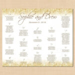 White Gold Sparkles Seating Chart Poster, Table Number For Wedding Seating Chart Template Word