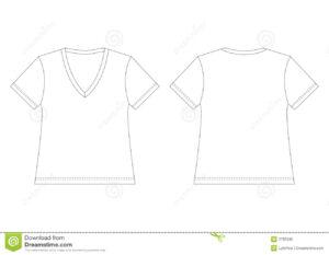 White V-Neck T-Shirt Stock Vector. Illustration Of Back for Blank V Neck T Shirt Template