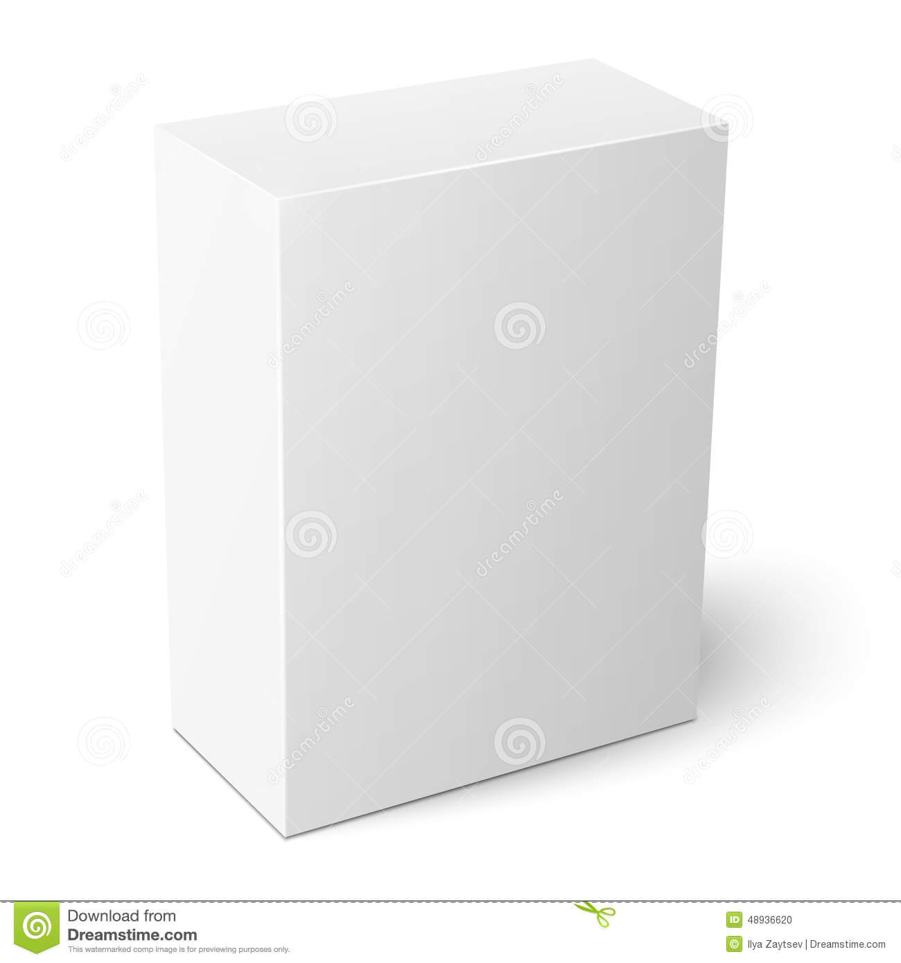 White Vertical Paper Box Template. Stock Vector Regarding Blank Packaging Templates