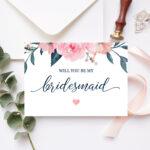 Will You Be My Bridesmaid Card Bridesmaid Proposal Card Floral Bridesmaid  Card Maid Of Honor Proposal Pink Navy Printable 100 03Bp Within Will You Be My Bridesmaid Card Template