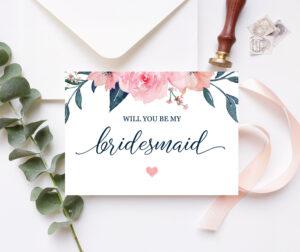Will You Be My Bridesmaid Card Bridesmaid Proposal Card Floral Bridesmaid  Card Maid Of Honor Proposal Pink Navy Printable 100-03Bp within Will You Be My Bridesmaid Card Template