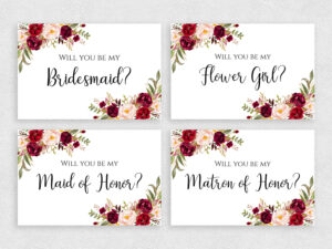 Will You Be My Bridesmaid Card Set Printable 4X6 Inches Template With  Flowers Bridesmaid Cards Pack Instant Download Pdf Jpeg Print throughout Will You Be My Bridesmaid Card Template