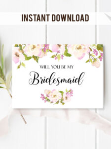Will You Be My Bridesmaid Card. With Beautiful And Romantic for Will You Be My Bridesmaid Card Template