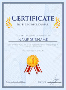 Winner Certificate Diploma Template With Seal Award Decoration.. pertaining to Winner Certificate Template