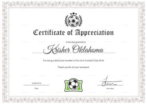 Women Football Appreciation Certificate Design Template In Inside Football Certificate Template