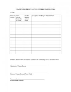 Wonderful Volunteer Hours Form Template Ideas Student intended for Community Service Template Word
