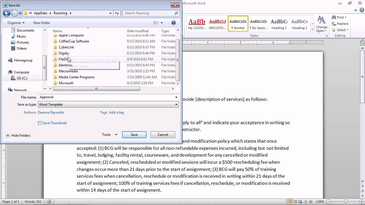 Word 2010 - Save A Document As A Template For Future Documents With Regard To Word 2010 Template Location