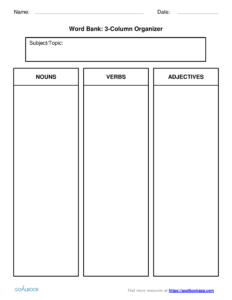 Word Bank | Udl Strategies – Goalbook Toolkit With 3 Column Word Template