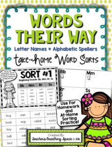 Words Their Way — Letter Name Alphabetic Homework Sorts intended for Words Their Way Blank Sort Template