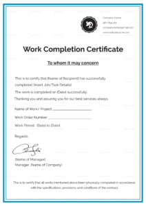 Work Completion Certificate Template in Good Job Certificate Template