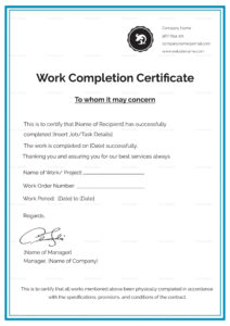 Work Completion Certificate Template | Job In 2019 regarding Certificate Template For Project Completion