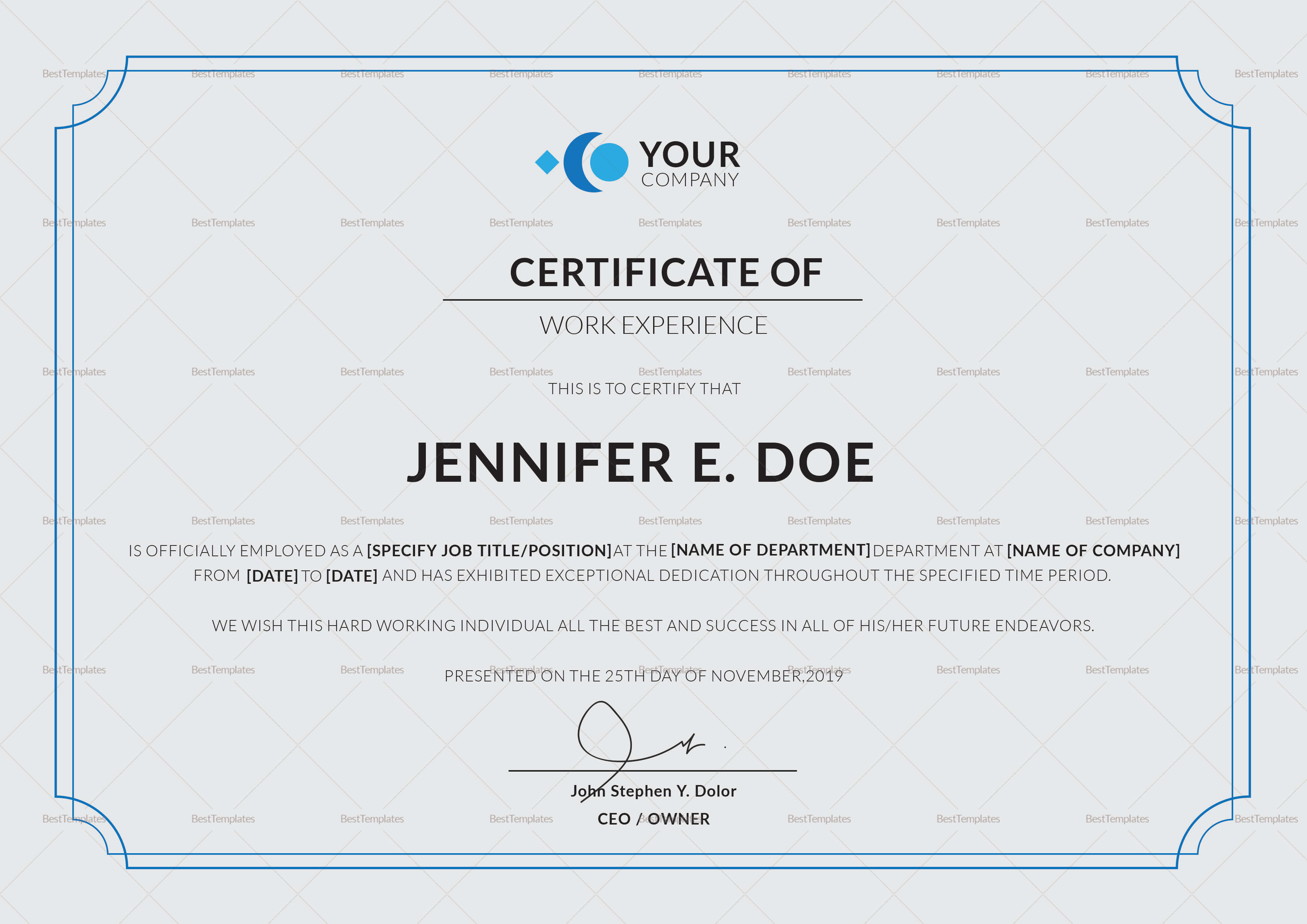 Work Experience Certificate Template In Certificate Of Experience Template