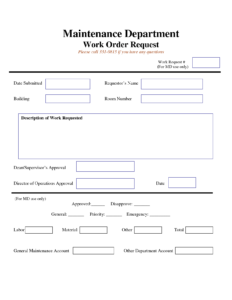 Work Request Form | Maintenance Work Order Request Form in Travel Request Form Template Word