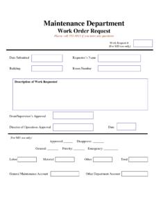 Work Request Form | Maintenance Work Order Request Form In Travel Request Form Template Word