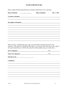 Workplace Incident Report Form Template pertaining to Incident Report Form Template Doc