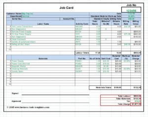 Workshop Job Card Template Excel, Labor & Material Cost pertaining to Mechanic Job Card Template