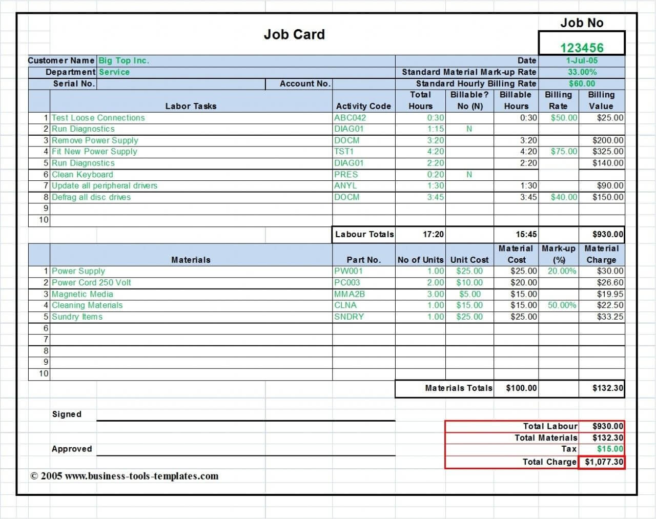Workshop Job Card Template Excel, Labor & Material Cost Pertaining To Sample Job Cards Templates
