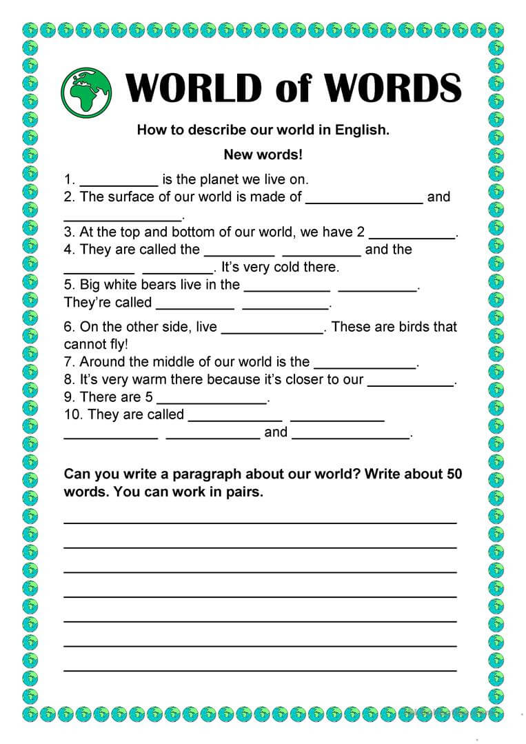 World Of Words – Vocabulary Building – English Esl Worksheets With Regard To Vocabulary Words Worksheet Template