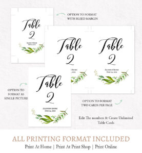 Wreath Table Numbers Template, L3 inside Table Number Cards Template