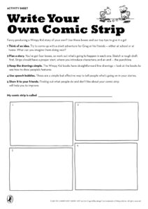 Write Your Own Comic Strip | Diary Of A Wimpy Kid Party regarding Printable Blank Comic Strip Template For Kids