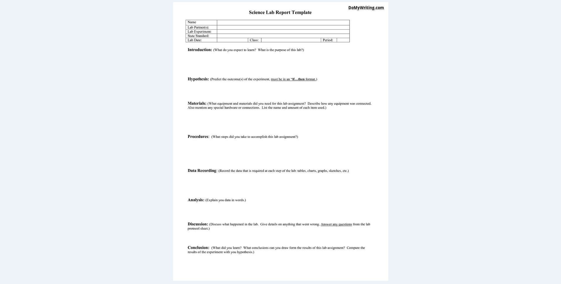 Writing A Lab Report: Everything A Student Should Know To For Introduction Template For Report