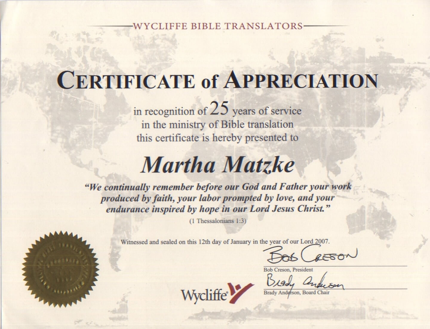 Years Of Service Certificate Template Pertaining To Certificate For Years Of Service Template