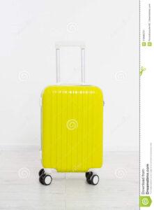 Yellow Suitcase On White Background .summer Holidays. Travel regarding Blank Suitcase Template