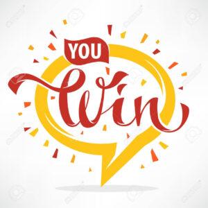 You Win , Vector Congratulation Banner Template With Lettering.. inside Congratulations Banner Template