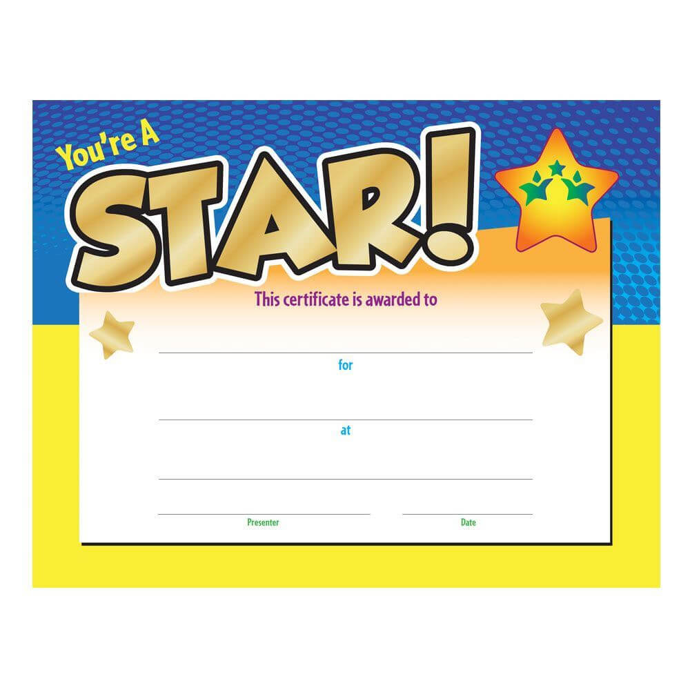 You're A Star! Award Gold Foil Stamped Certificate With Star Award Certificate Template