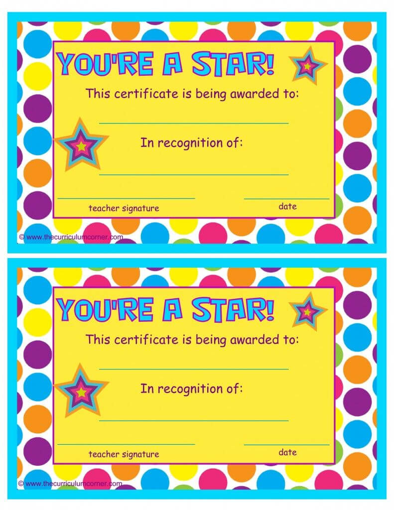 You're A Star End Of The Year Certificates   End Of The Regarding Free Student Certificate Templates